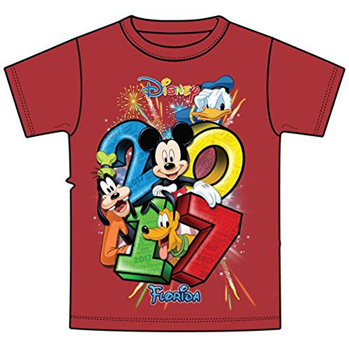Disney Youth 2017 Dated Stacked Mickey Donald Goofy Pluto Tee, Red (Florida Namedrop) - SHOPME.COM