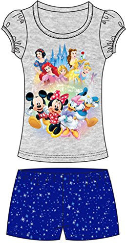 Disney Toddler Girls Short Set Group Mickey Minnie Donald Daisy 2-pc Set