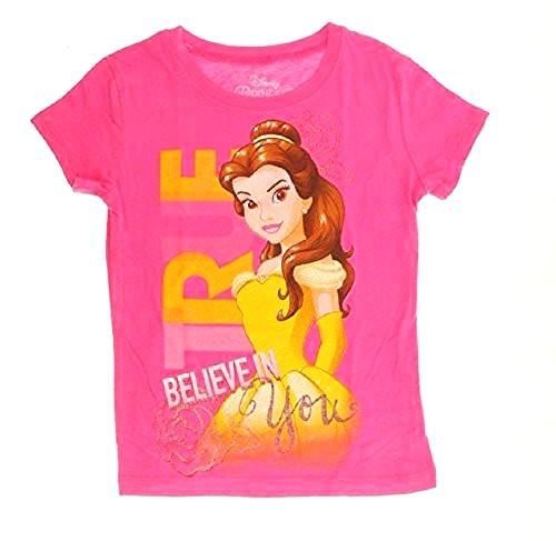 "Disney Princess Belle ""Believe in You"" Glitter Youth Girls Pink T-Shirt - SHOPME.COM"