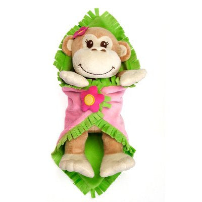 "Fiesta Toy 11"" Girl Monkey Blanket Babies Plush Stuffed Animal Toy - SHOPME.COM"