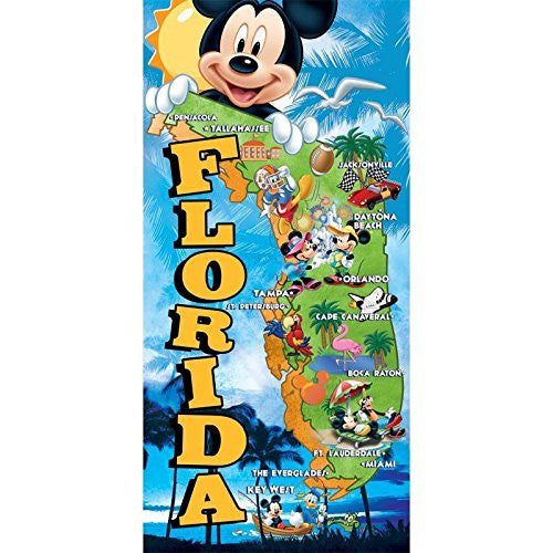 Disney Mickey Mouse Minnie Mouse Donald Duck Goofy Florida Map Towel - SHOPME.COM