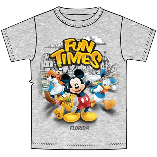 "Disney Mickey Mouse Donald Duck Pluto Goofy ""Fun Times' Tee Youth Unisex T Shirt - SHOPME.COM"
