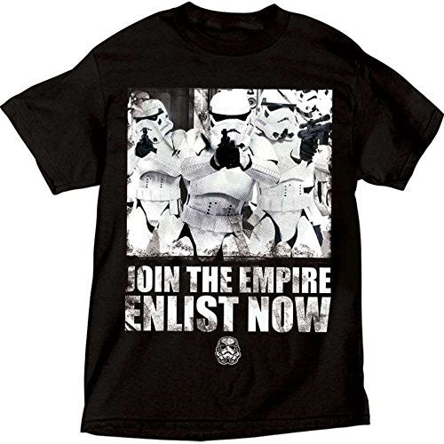 Star Wars Storm Trooper Empire Support Adult T Shirt, Black Tee