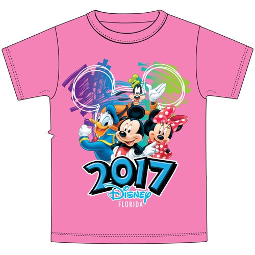 Disney Adult Plus Size 2017 Dated Scribble Art Donald Mickey Goofy Minnie Tee Neon Pink (Florida Namedrop) (2XL) - SHOPME.COM