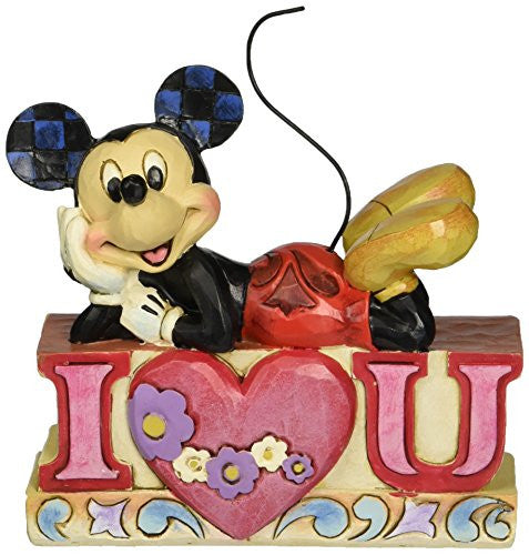 "Department 56 Disney Traditions by Jim Shore Mickey I Love You Figurine, 4"" - SHOPME.COM"