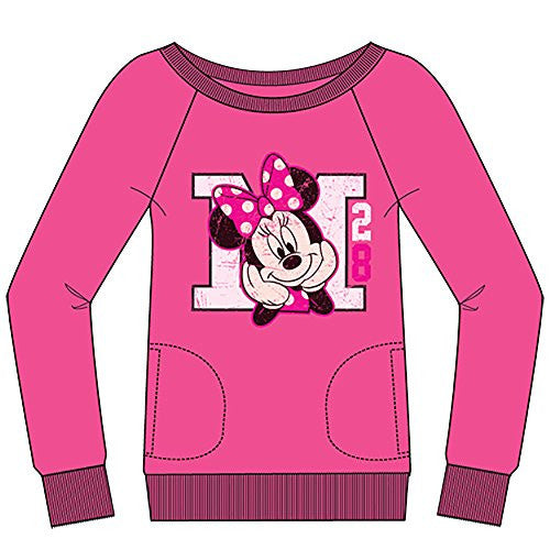 Disney Classic Minnie Mouse 'M 28' Womens Long Sleeve Crew Neck Sweatshirt - Pink