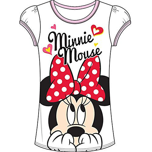 Disney Minnie Mouse 'FLIRT' Girls T Shirt Top - White Pink - SHOPME.COM