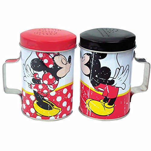 "WL SS-WL-18919 Colorful Mickey & Minnie Kissing Tin Salt & Pepper Shakers, 4"" - SHOPME.COM"