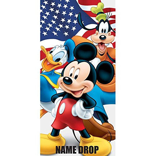 Flag Friends Mickey Donald Goofy Beach Towel - SHOPME.COM
