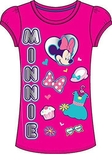 Disney Classic Minnie Mouse Cupcakes & Fashion Girls T Shirt Top - Hot Pink
