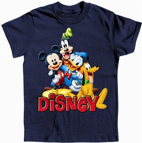 Youth Unisex T Shirt Happy Mickey Trio, Navy Small - SHOPME.COM