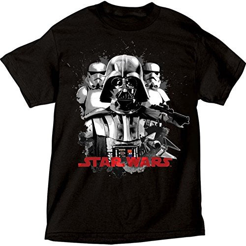 Star Wars Darth Vader and Storm Trooper Adult T shirt, Black Tee