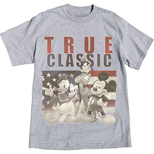 Disney Mickey Mouse Donald Duck Goofy Pluto True Vintage Adult T Shirt, Grey Tee