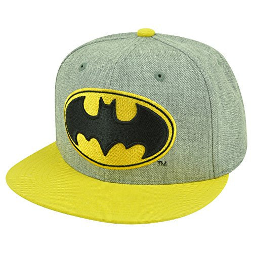 Batman Men's Heathered Flat Snapback with Pop Color Brim, Grey, ONE SIZE