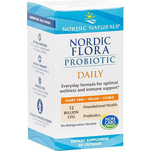 Nordic Naturals - Nordic Flora Probiotic Daily, Optimal Wellness and Immune Support, 60 soft gels - SHOPME.COM
