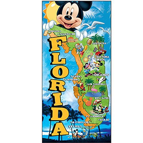 Disney Mickey Mouse Donald Duck Goofy and Pluto Map Beach Towel Black Yellow Red Blue Green