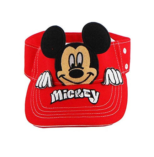Authentic Disney Mickey Mouse Peeking Boys Sun Visor Red - SHOPME.COM