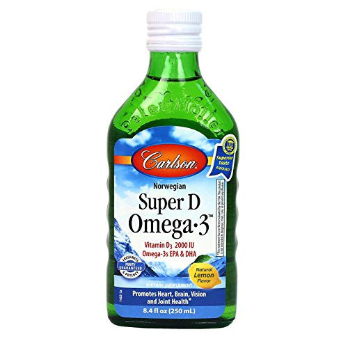 Carlson Labs Super D Omega-3 Natural Vitamin D, 8.4 Ounce Glass Bottle