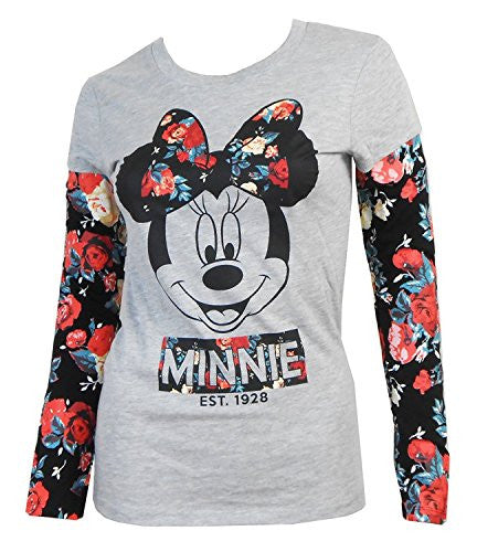 Disney Junior Long Sleeve Floral Minnie, Gray - SHOPME.COM