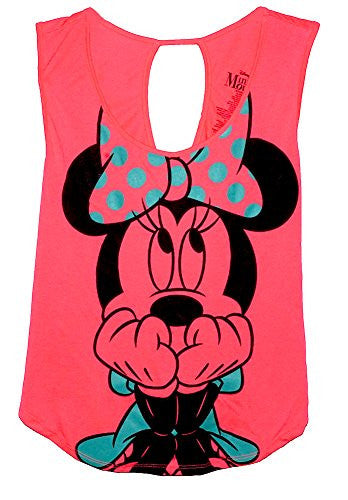 Disney Classic Minnie Mouse 'Scared' Junior Tank Top T Shirt - Pink Blue M