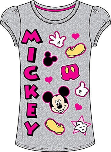 Disney Classic Mickey Mouse Parts Girls T Shirt Top - Grey Pink