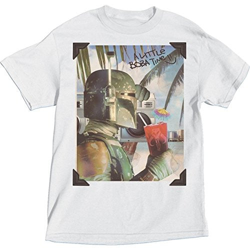 Star Wars Adult Size Boba Fett on the Beach T shirt, White Tee - SHOPME.COM
