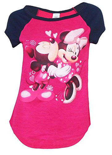 Disney Mickey Mouse and Minnie Mouse Kisses Tee Junior Girls Fashion Top T Shirt - SHOPME.COM
