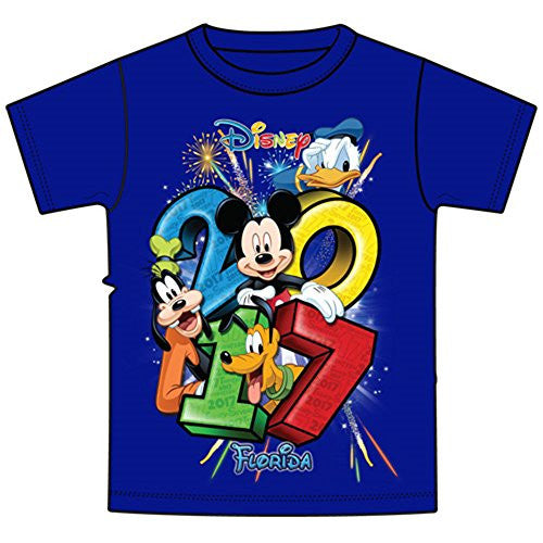 Disney Youth 2017 Dated Stacked Mickey Donald Goofy Pluto Tee, Royal Blue (Florida Namedrop) - SHOPME.COM