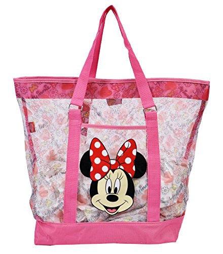 Disney Minne Mouse Mesh Shopping Beach Bag - Pink White Red - SHOPME.COM