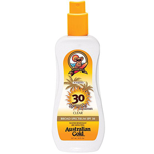 Australian Gold SPF 30 Spray Gel Sunscreen, Clear, 8 Fl Oz - SHOPME.COM