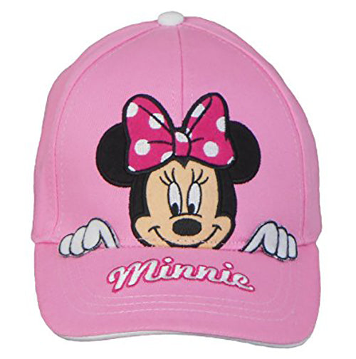 Disney Minnie Mouse Peeking Youth Girls Cap with Adjustable Velcro Strap Pink