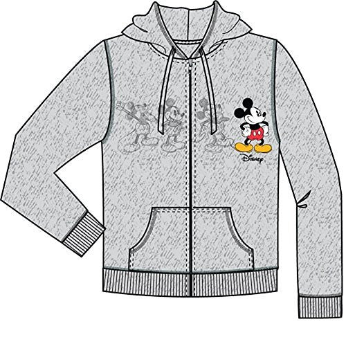 Disney Womens Mickey Plus One Zip Up Hoodie, Gray (X-Large) - SHOPME.COM