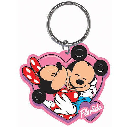 Disney Mickey Minnie Hearts Lasercut Keychain