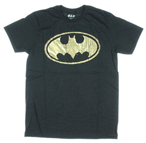 DC Comics Men's Batman Gold Foil Logo T-Shirt, Black