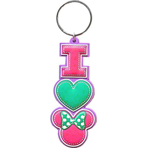 Disney I Heart Minnie Mouse Stack Lasercut Keychain - SHOPME.COM