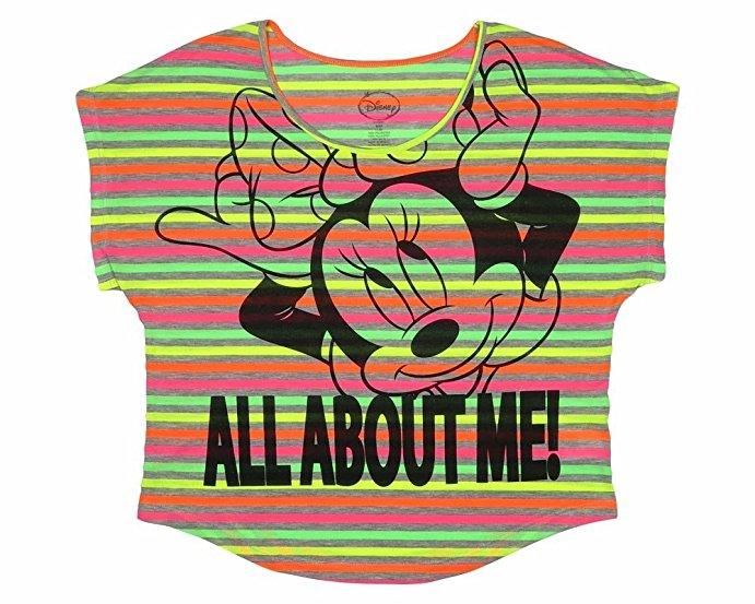 "Disney Minnie Mouse ""It's All About Me"" Neon Striped Juniors Crop T-Shirt"