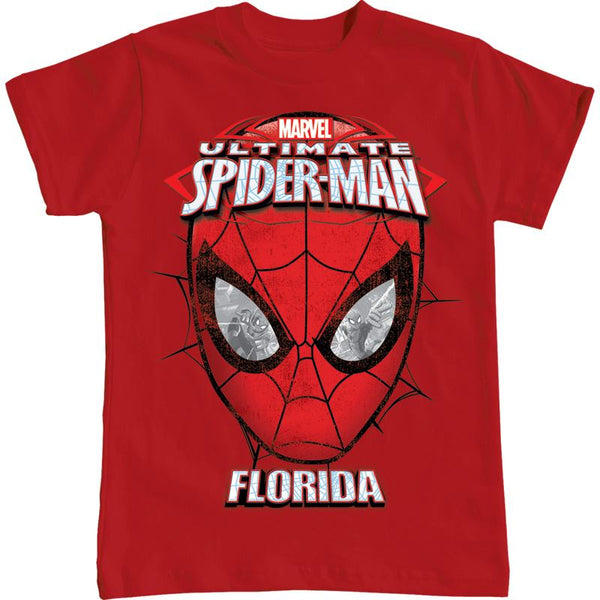 Marvel Ultimate Spider Man Boys Comic T Shirt - Florida Print Red (2T, 3T, 4T, XS, S) - SHOPME.COM