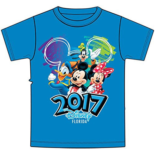 Disney Toddler 2017 Dated Scribble Art Donald Mickey Goofy Minnie Tee, Pacific Blue (Florida Namedrop) - SHOPME.COM