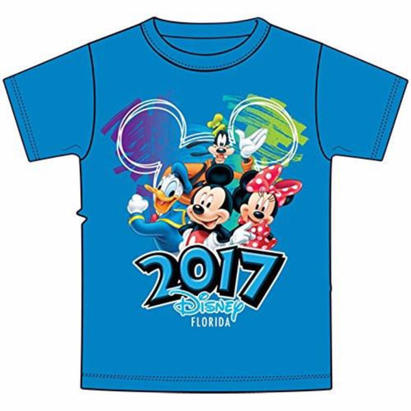Disney Youth 2017 Dated Scribble Art Donald Mickey Goofy Minnie Tee, Pacific Blue (Florida Namedrop) - SHOPME.COM