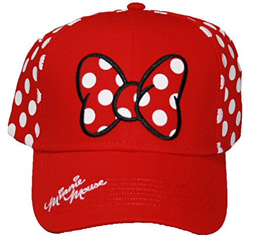 Disney Minnie Mouse Polka Dot Bow Womens Baseball Hat - SHOPME.COM