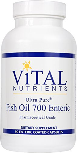 Vital Nutrients - Ultra Pure Fish Oil 700 Enteric (Pharmaceutical Grade) - Hi-Potency Deep Sea Fish Oil, Cardiovascular Support - 90 Enteric Coated Capsules - SHOPME.COM