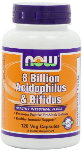 NOW 8 Billion Acidophilus & Bifidus,120 Veg Capsules