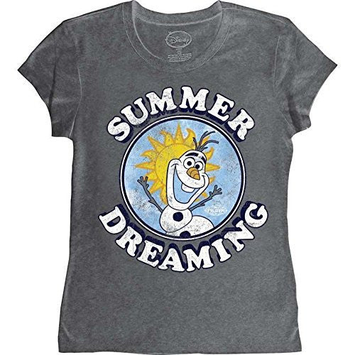 Disney Frozen Summer Dreaming Circle Olaf Girl's Juniors Graphic T shirt - SHOPME.COM