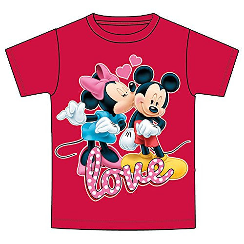 Disney Mickey & Minnie Mouse 'LOVE' Girls T Shirt - Red - SHOPME.COM