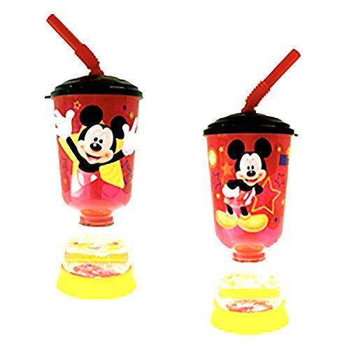 "Disney's ""Mickey Mouse"" Cup with Straw and Snow Globe Stand - SHOPME.COM"