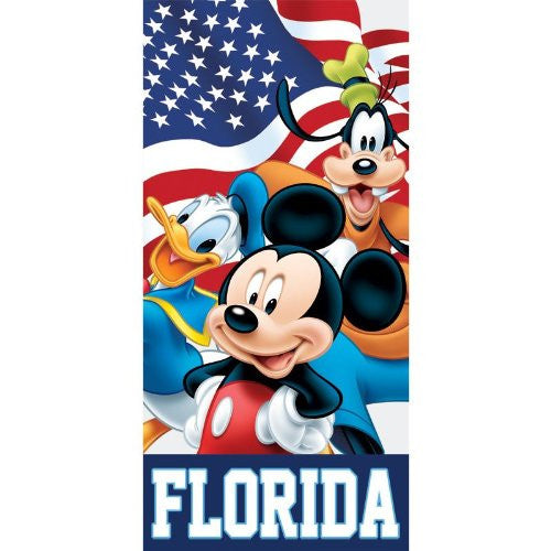 Disney American Flag Friends Mickey Goofy Donald Beach Towel - SHOPME.COM