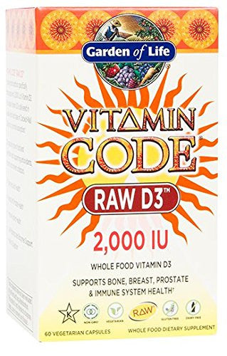 Garden of Life Raw D3 Supplement - Vitamin Code Whole Food Vitamin D3 2000 IU, Dairy and Gluten Free, Vegetarian, 60 Capsules - SHOPME.COM