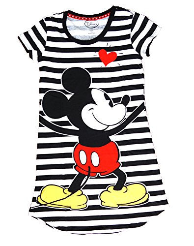 Disney Classic Mickey Mouse Night Gown Dorm T Shirt Front Back Black White Stripes