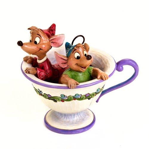 "Disney Traditions by Jim Shore Cinderella Jaq and Gus Tea Cup Figurine ""Tea For Two"" (4016557) - SHOPME.COM"