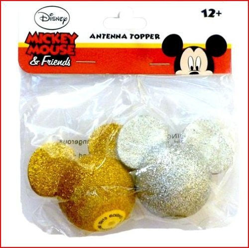 Glitter Mickey Mouse Silver and Gold Antenna Toppers - SHOPME.COM